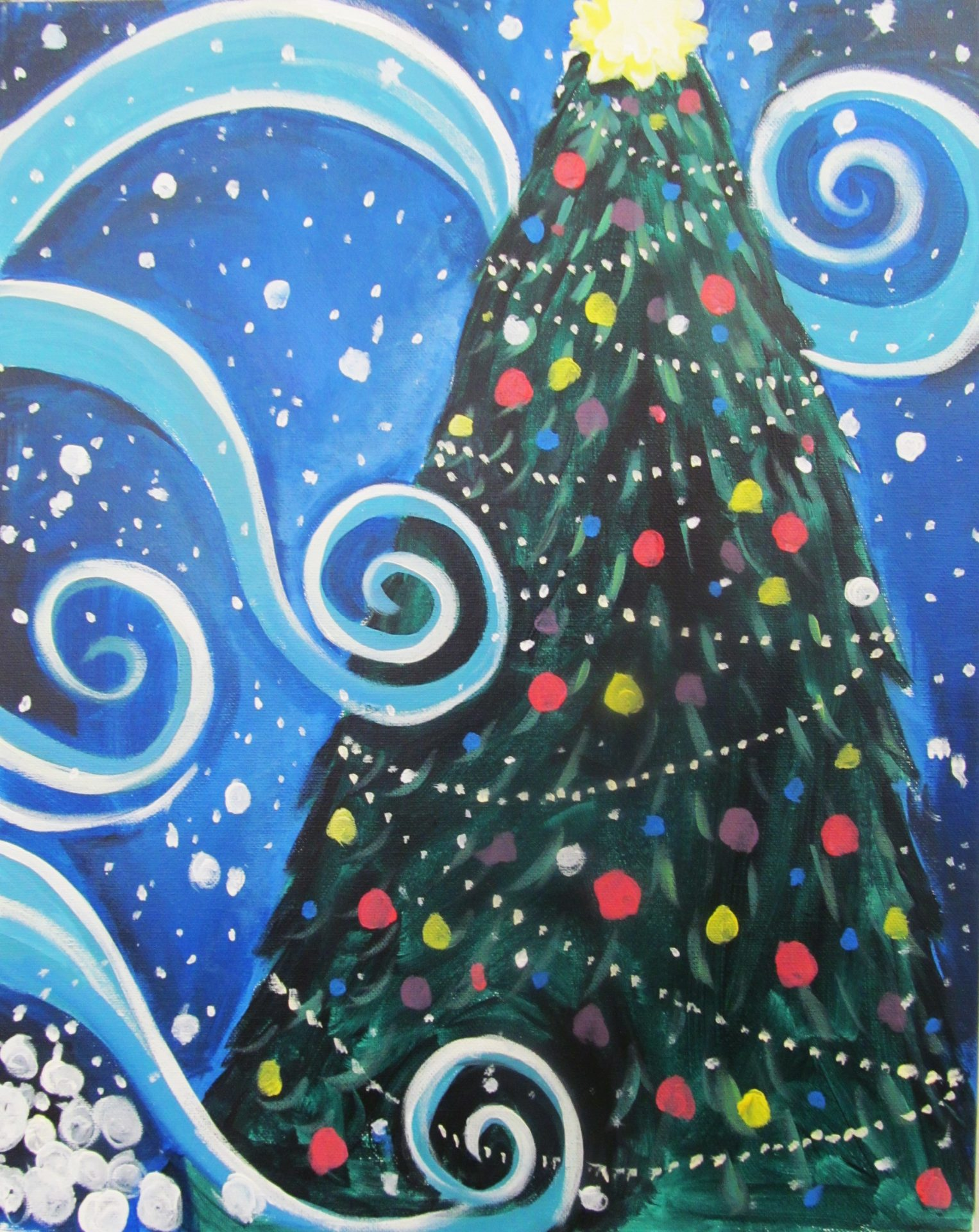 Acrylic Christmas Tree Painting.Cocktails And Canvas Christmas Tree Visarts