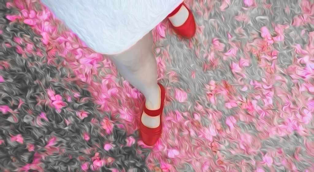 Liliane Blom_Red shoes cherry blossoms2b