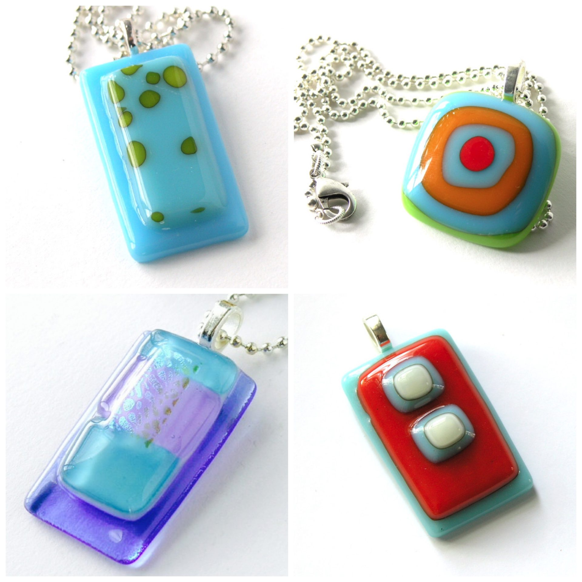 in rectangular silver fused inches white glass approx turquoise tack pendant bail x and