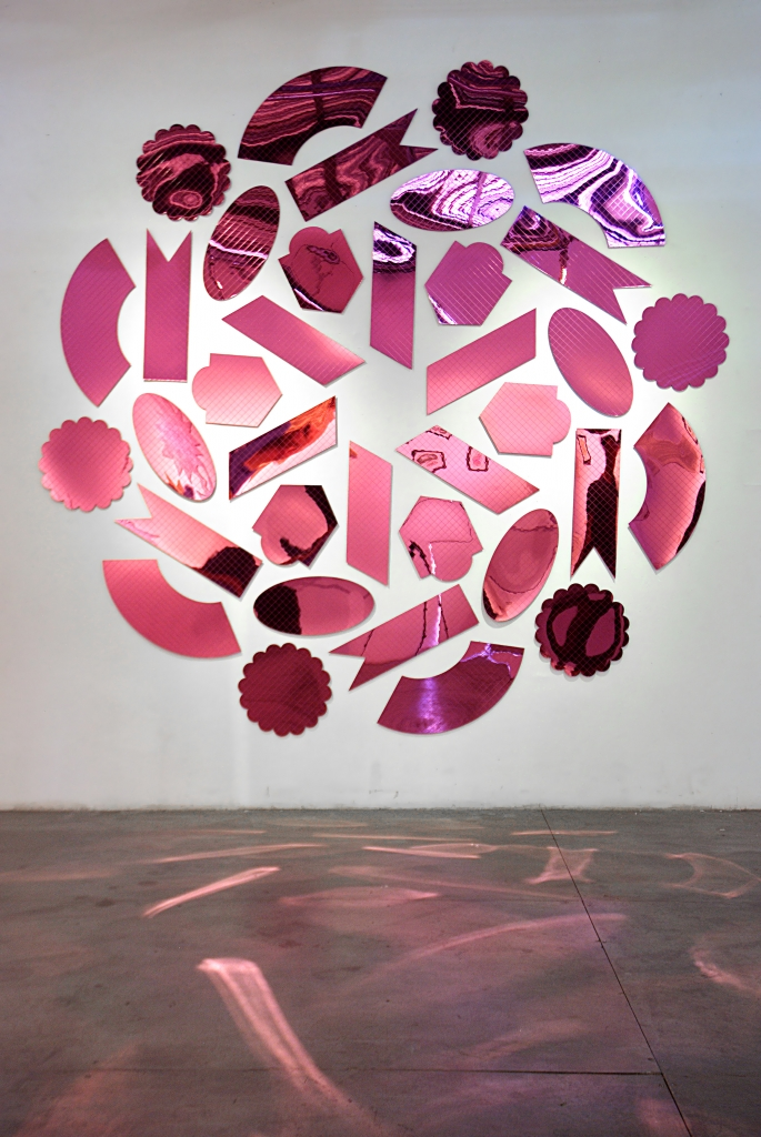 Dragonfruit, 2014, mirrored acrylic, 105 x 105 inches