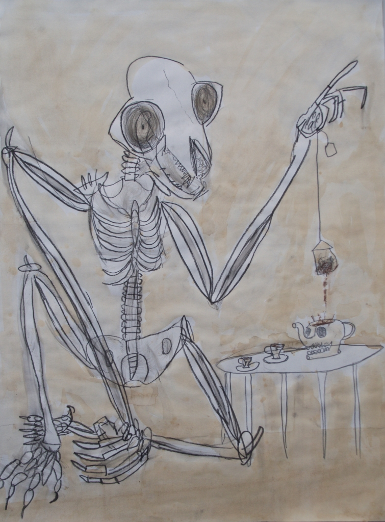 Max DeMulder, Teatime, 2016, pen and ink with tea wash on paper, 18 x 24 inches