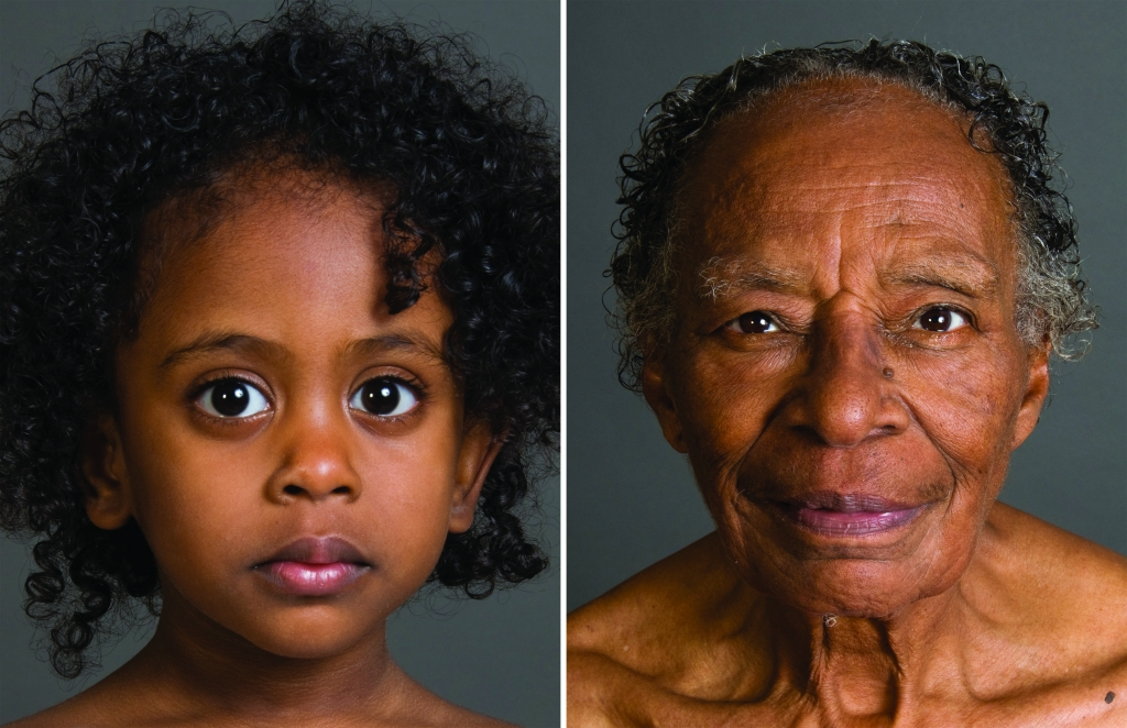 Alyscia Cunningham, (left) Mesale, Age 2, (right) Frances, Age 81, digital print, 24 x 36 inches