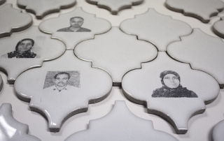 Sobia Ahmad, Small Identities, 2017 – on-going, ID photos of Muslim immigrants on ceramic tiles, dimensions variable