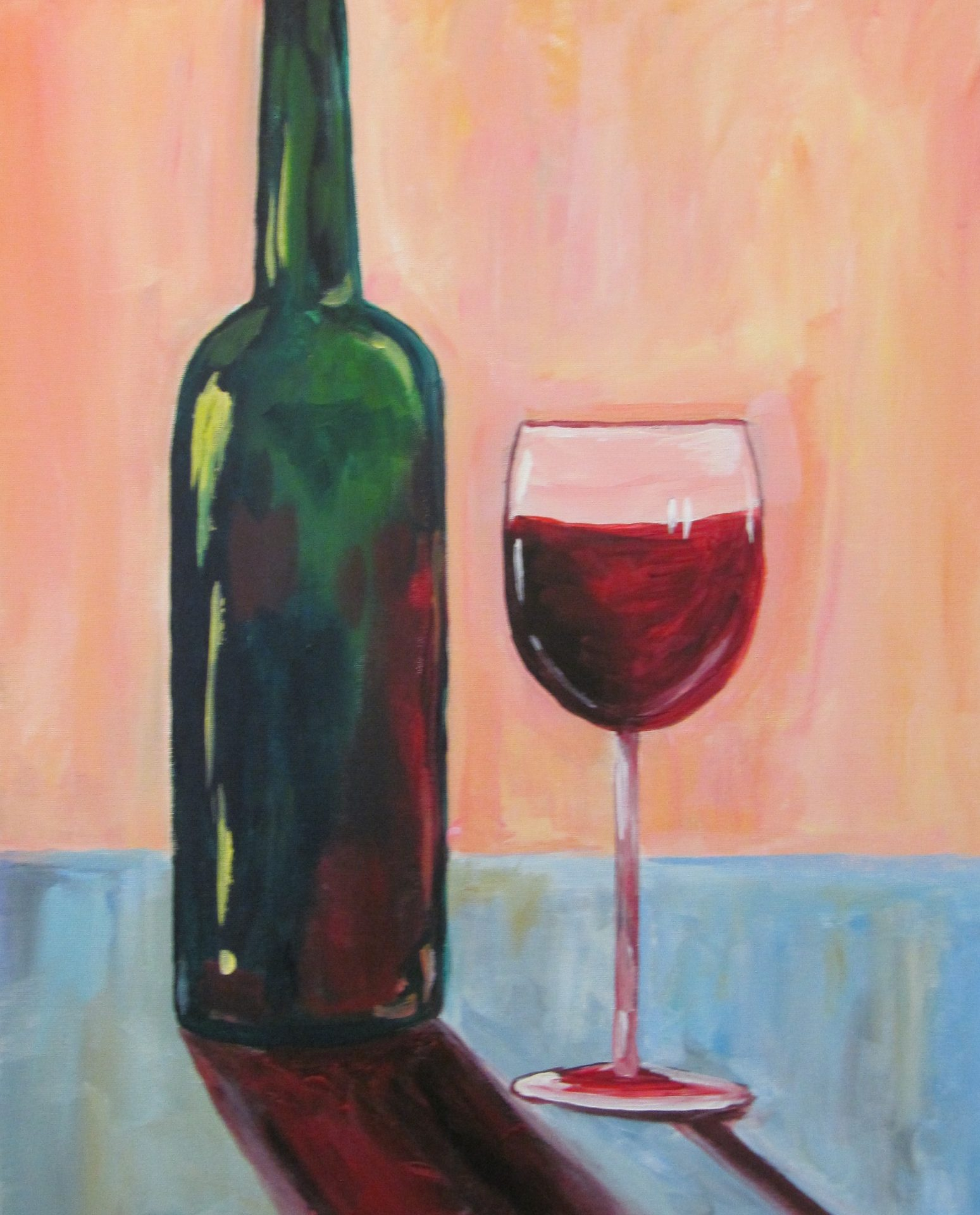 Cocktails and canvas wine bottle study visarts for Can acrylic paint be used on glass bottles