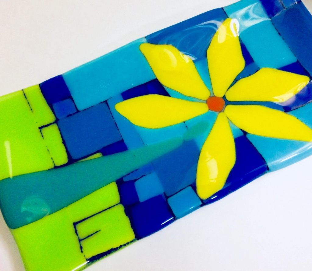 Fused Glass Plate With Black Powder Visarts