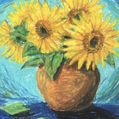 Oil Pastel Sunflower Visarts